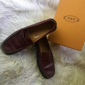 Tod's red maroon penny loafers- only worn inside!